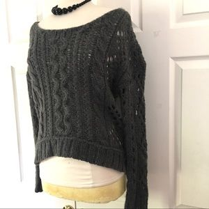 Free People Grey Cable Knit Sweater Sz Small